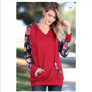 Tops - Floral Hoodie Pullover Sweatshirt Size Medium